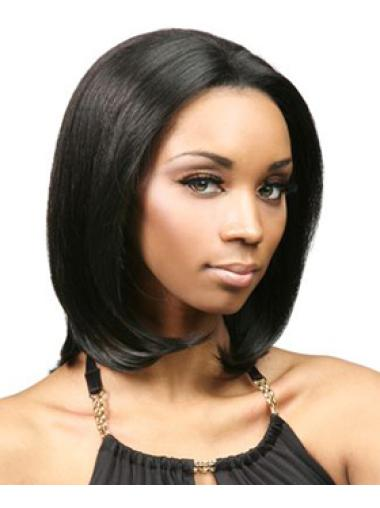 Black Lace Front Indian Remy Hair Exquisite Medium Wigs