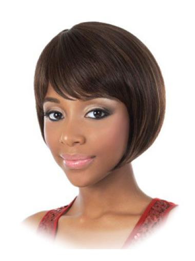 Affordable Brown Straight Chin Length African American Wigs