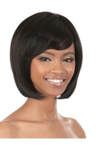 Elegant Black Straight Chin Length African American Wigs