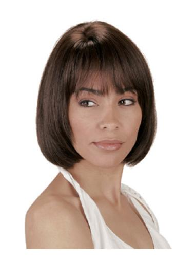 Brown Ideal Straight Indian Remy Hair Medium Wigs