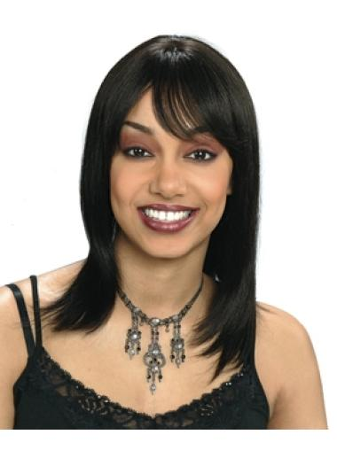 Preferential Black Straight Shoulder Length African American Wigs