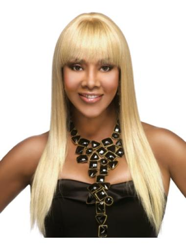 Trendy Blonde Straight Long African American Wigs
