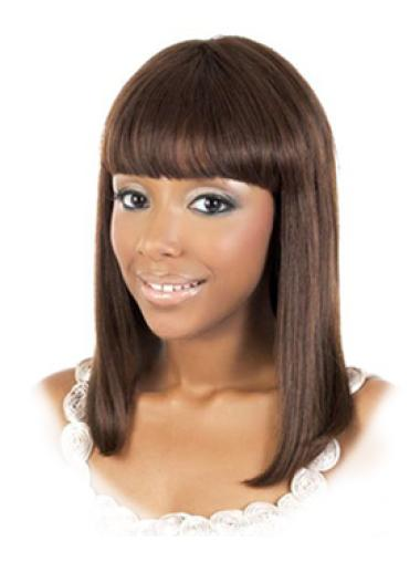 Impressive Brown Straight Shoulder Length African American Wigs