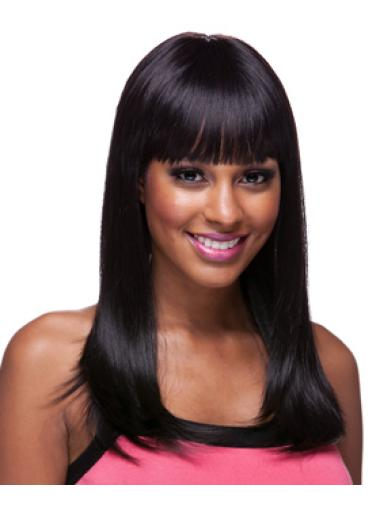 Cool Black Straight Long African American Wigs