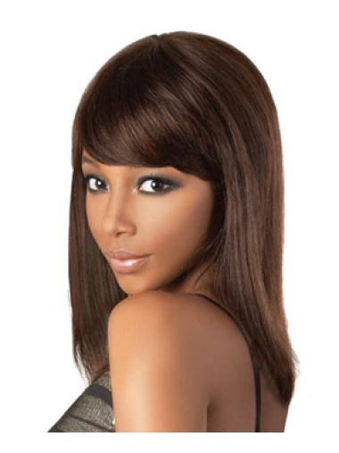 Radiant Brown Straight Shoulder Length African American Wigs