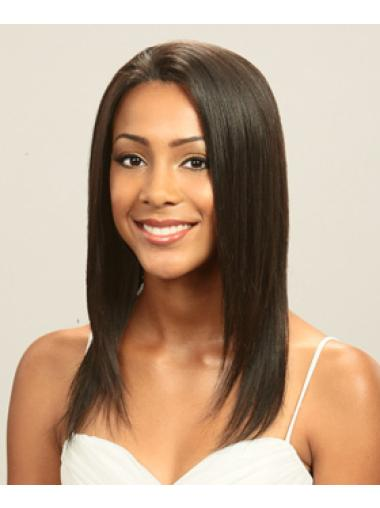 Fashionable Indian Remy Hair Lace Front Straight Long Wigs