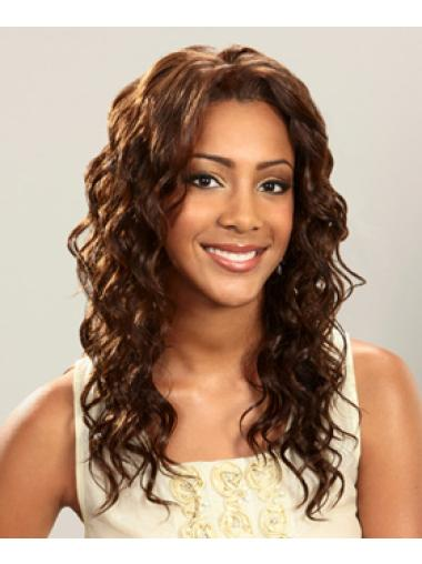 Glamorous Brown Curly Long Human Hair Lace Front Wigs