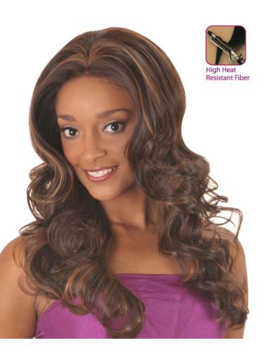 Comfortable Brown Curly Long Glueless Lace Front Wigs