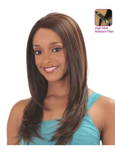 Stylish Auburn Straight Long Glueless Lace Front Wigs