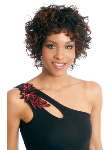 Brown Curly Short African American Wigs