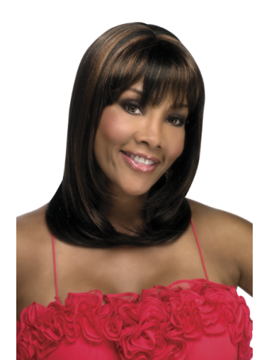 Amazing Brown Straight Shoulder Length African American Wigs