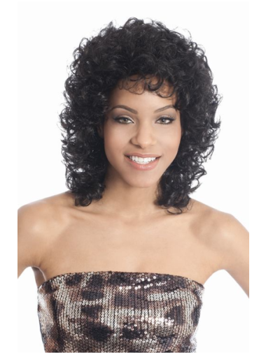 Tempting Black Curly Shoulder Length African American Wigs
