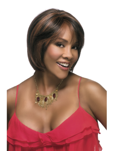 Traditiona Brown Straight Short African American Wigs