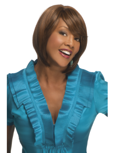 Comfortable Auburn Straight Chin Length African American Wigs