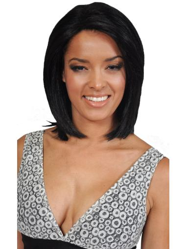 Affordable Black Straight Chin Length African American Wigs