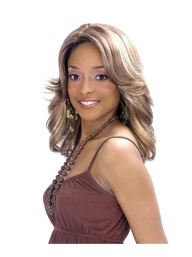 Cosy Blonde Wavy Shoulder Length African American Wigs