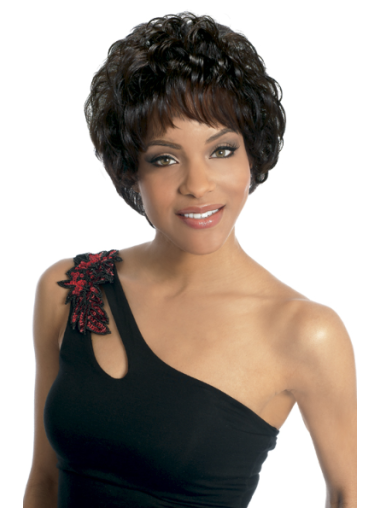 Black Wavy Brazilian Remy Hair Easy Short Wigs