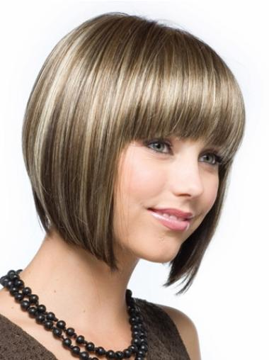 Traditiona Brown Straight Chin Length Synthetic Wigs