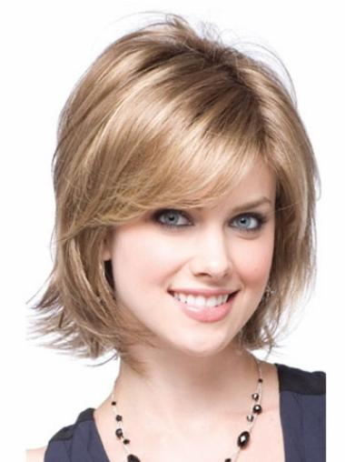 Modern Blonde Chin Length Synthetic Wigs