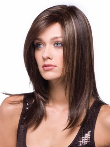 Sleek Brown Straight Wigs For Cancer