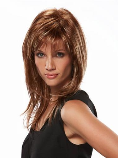 Brown Straight Synthetic Traditiona Long Wigs