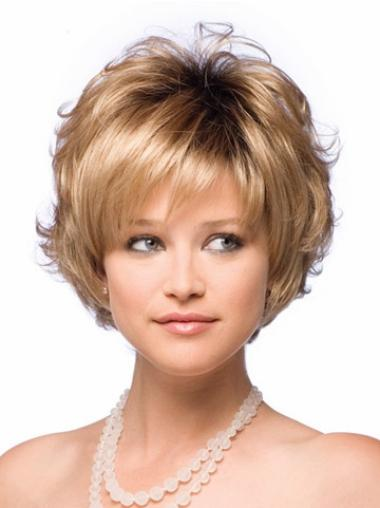 Designed Blonde Wavy Short Synthetic Wigs