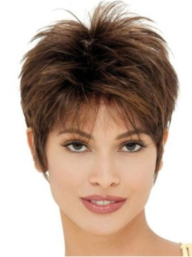 Cheap Brown Straight Cropped Synthetic Wigs