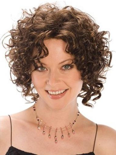 Designed Brown Curly Chin Length Synthetic Wigs