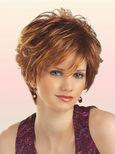 Unique Auburn Layered Short Synthetic Wigs
