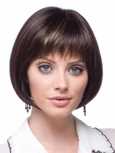 Trendy Lace Front Straight Chin Length Wigs For Cancer