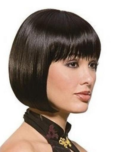 Fashion Black Straight Chin Length Synthetic Wigs