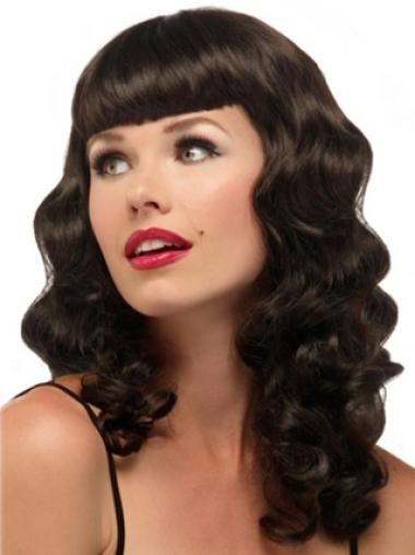 Brown Wavy Synthetic Braw Long Wigs
