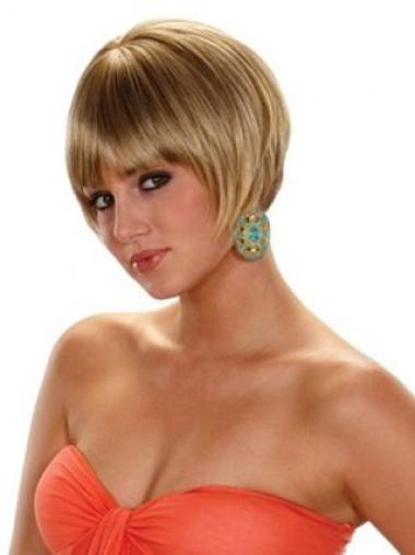 No-fuss Blonde Straight Short Synthetic Wigs