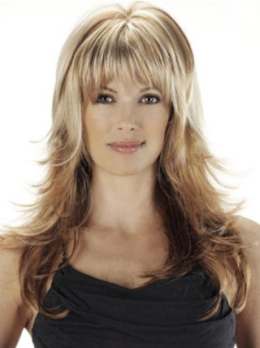 Pleasing Synthetic Blonde Wavy Long Wigs
