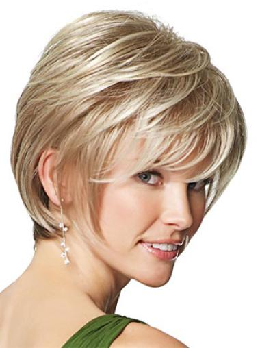 Faddish Blonde Straight Short Synthetic Wigs