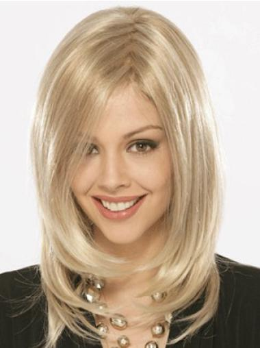Radiant Blonde Straight Shoulder Length Synthetic Wigs