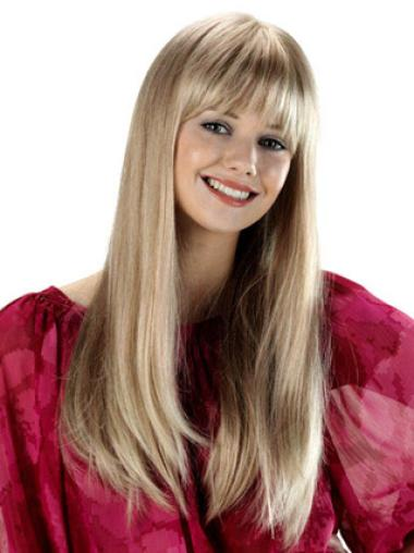 Gentle Blonde Straight Long Synthetic Wigs