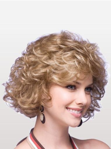 Designed Blonde Curly Chin Length Classic Wigs