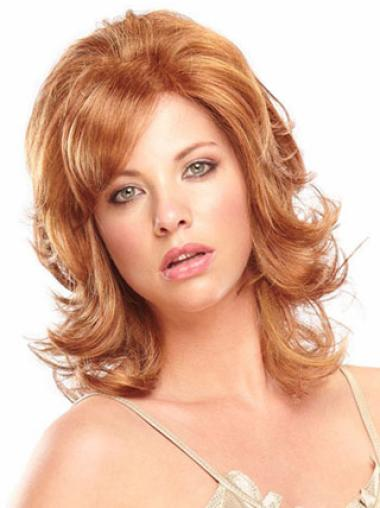 Incredible Auburn Wavy Shoulder Length Celebrity Wigs