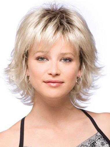 Durable Blonde Straight Chin Length Wigs For Cancer