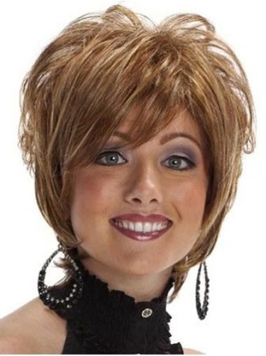 High Quality Brown Wavy Short Synthetic Wigs