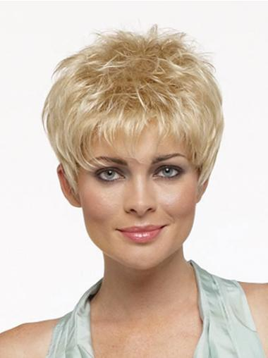 Comfortable Blonde Straight Cropped Synthetic Wigs