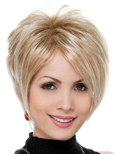 Online Blonde Straight Short Synthetic Wigs