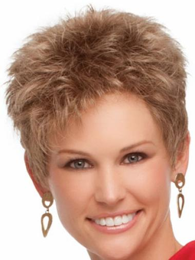 Nice Blonde Wavy Cropped Synthetic Wigs