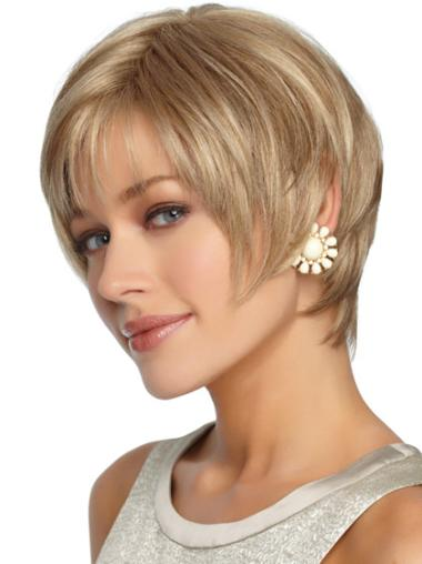 Blonde Straight Short Synthetic Wigs