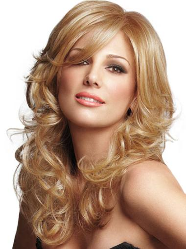 Gentle Blonde Curly Long Wigs For Cancer