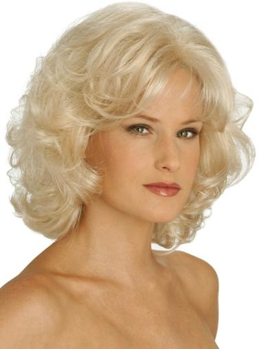 Pleasing Blonde Curly Chin Length Classic Wigs