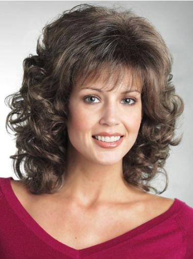Brown Curly Shoulder Length Classic Wigs