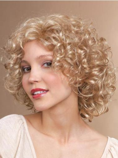 Shining Blonde Curly Chin Length Synthetic Wigs