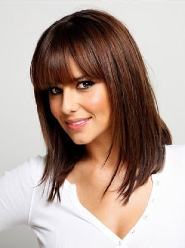 Comfortable Synthetic Auburn Straight Medium Wigs